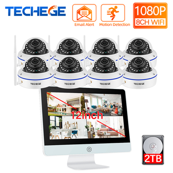Techege 8CH Wireless NVR Kit 12inch LCD NVR 1080P HD Vandalproof Security IP Camera WIFI CCTV System Motion Detection Auto Pair techege 8ch 720p nvr wifi surveillance kit plug and play 8pcs 720p hd 1mp wireless waterproof night vision security cctv system
