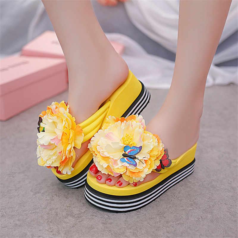 Candy Farbe Sommer Plattform Sandalen Mode Blume Frauen Sandale 6CM Keile Schuhe Casual Frau flip-flops Damen Plattform Sandalen