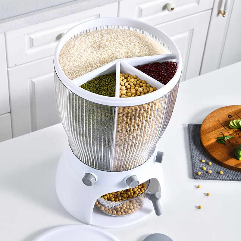 Caja de almacenamiento de alimentos giratoria multifuncional con tapa,  organizador de granos a prueba de insectos, a prueba de humedad, Cubo de  arroz Separat, 20KG|Botellas, tarros y cajas| - AliExpress