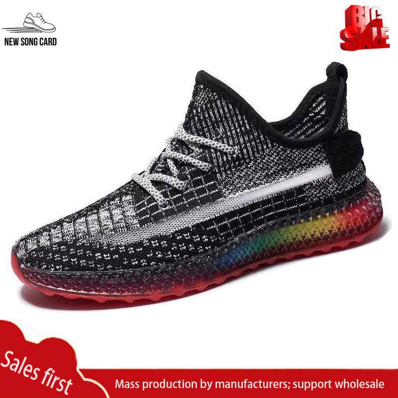 ผู้ชายใหม่กีฬารองเท้าน้ำหนักเบารองเท้าสบายๆฤดูร้อนรองเท้าถักด้านบนปลารูปแบบเทนนิสรองเท้ากลางแจ้ง Breathable วิ่งรองเท้า