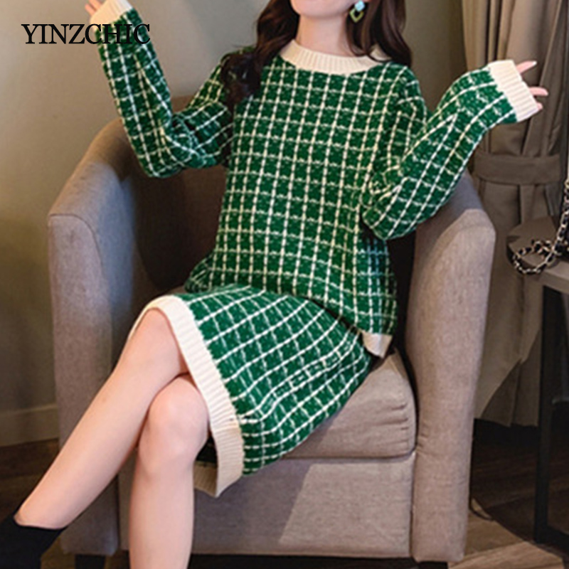 Chic Winter Plaid Knit Suits Women O-neck Loose Sweater Pencil Skirt Sets For Lady Warm Female Knit Two-pieces Set Autumn