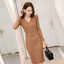 Single-Breasted V-Neck Sweater Dress Women Autumn Winter Knitted Jumper Dress With Belt High Waist Long Bodycon Vestidos DA252(China)