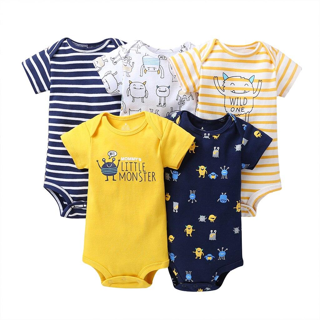 Monstro dos desenhos animados bodysuit do bebê recém-nascido da menina do menino roupa nova nascido de manga curta macacão de algodão corpo roupas unsisex 2019 5 pçs/set