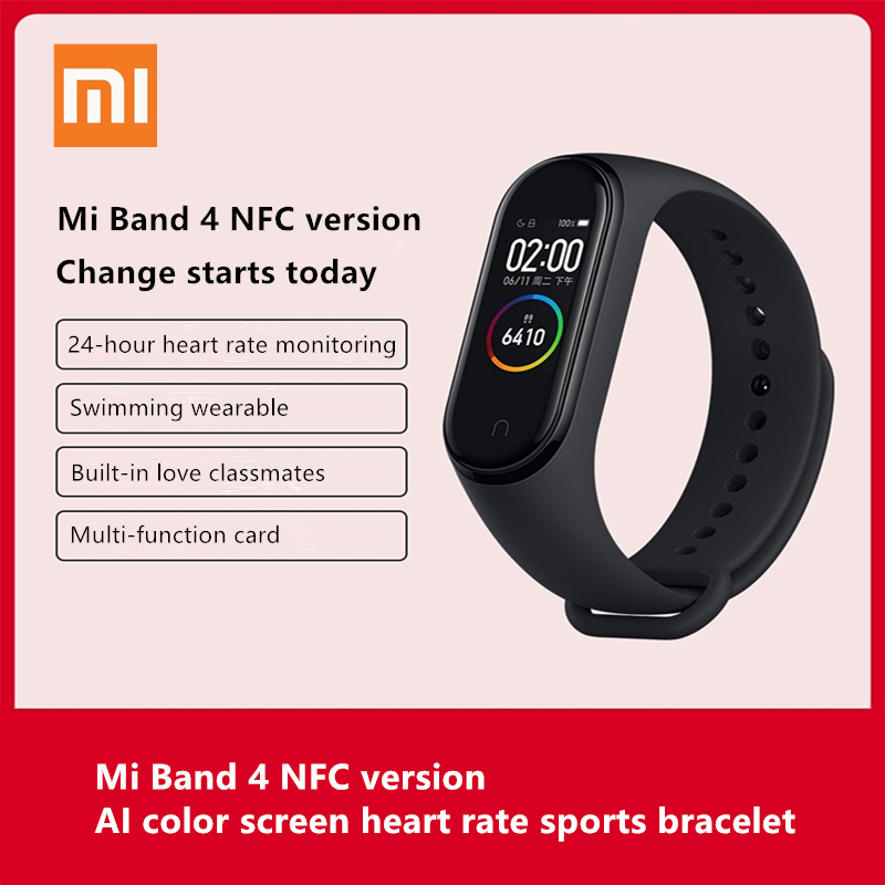 100% original Xiaomi Mi Band 4 NFC version AMOLED large screen color display 50M waterproof Heart rate, sleep smart watch image