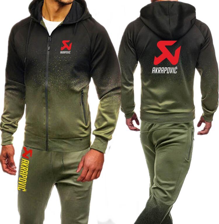 AKRAPOVIC Printed Hooded Tracksuit Men Set Autumn Sporting Fitness Bodybuilding Sweatsuit Zipper Hoodies Jacket Pants Male