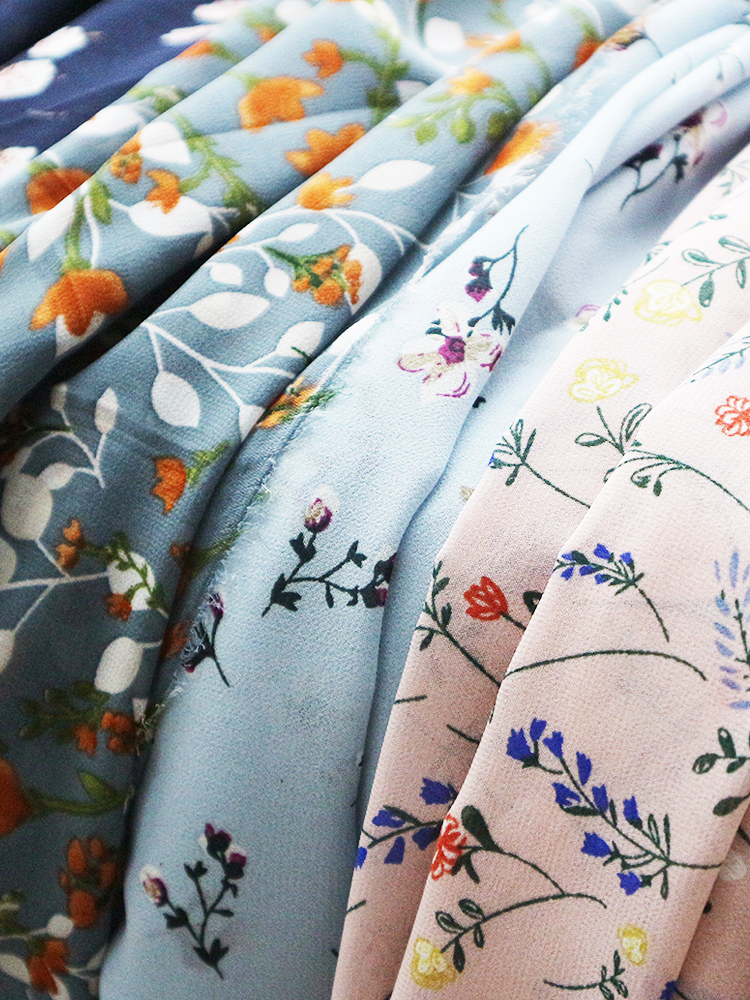 シフォン生地の花プリント牧歌的な夏にドレス服無地裏地生地縫製ブルースパンコール緑ボヘミア