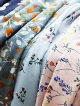 Tecido de chiffon floral impresso pastoral vestido roupas cor sólida forro no verão tecido para costura azul lantejoulas verde bohemia