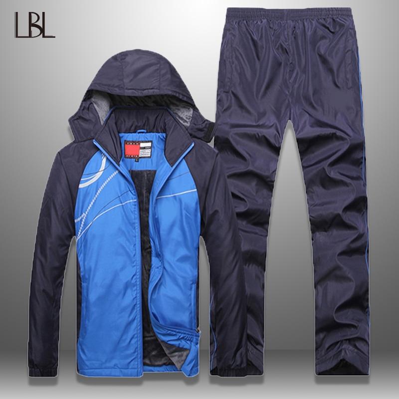 Men Set Winter Autumn Fleece Tracksuit Set Men's Sportswear 2 Piece Set Sporting Windproof Jacket+Pant Sweatsuit Men Clothing