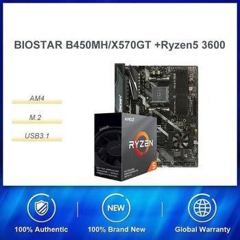 Procesador de ordenador de sobremesa con caja AMD Ryzen R5 3600 Biostar X570GT, conjunto de CPU, para ordenador de juegos y PC