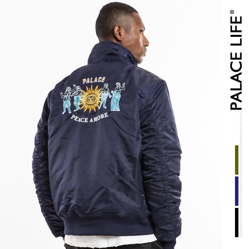 Palace Life Europe And America Autumn And Winter Popular Brand Men'S Wear New Style Embroidered Flight Jacket Zipper Warm MEN'S