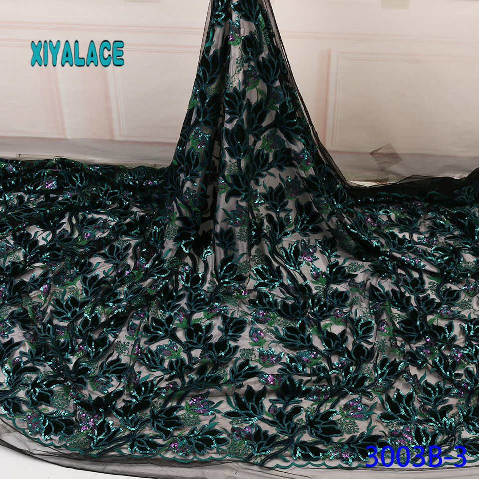 African Lace Fabric Latest High Quality 2019 Lace Embroidery French Lace Fabric Bridal Lace For Nigerian Party Dress YA3003B-3