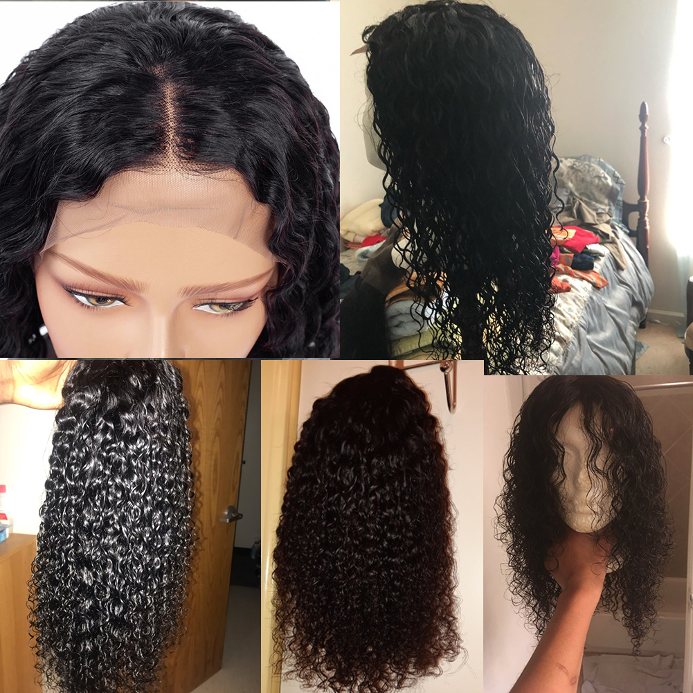 HANNE 4 4 Closure Wigs Human Hair Wigs Short Curly Wigs for Black White Women 3 Part Glueless Closure Wig Natural Black Color in Human Hair Lace Wigs from Hair Extensions Wigs