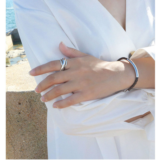 925 Sterling Silver Rings For Women Bohemian Adjustable Geometric Irregular Rings Exaggerated Novelty Jewelry S-R406 3