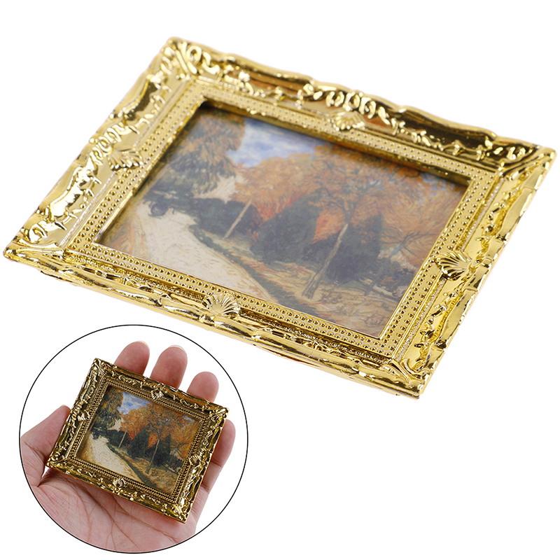 1 Pc Dollhouse Miniature 1:12 Mini Decorative Accessories Antique Frame Oil Painting DIY Doll House Resin Picture Frame