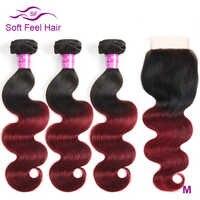 Doux sensation cheveux Ombre brésilienne vague de corps 3/4 paquets avec fermeture 1B/bourgogne Ombre cheveux humains paquets avec fermeture 99J rouge Remy