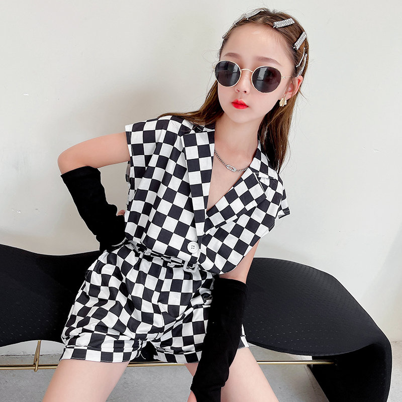Teen Girls Overall Jumpsuit With Waist Belt 2021 Summer Short Sleeve Romper Plaid Kids Jumpsuit Shorts One-Piece Fashion Clothes