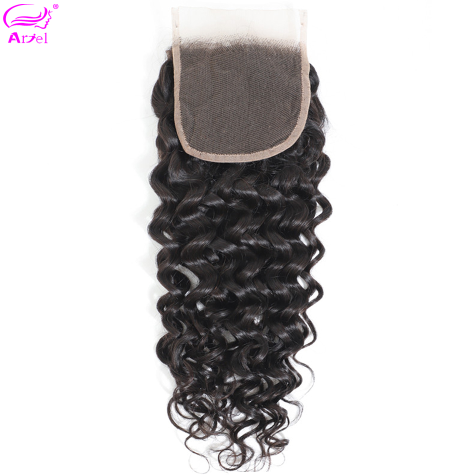 Closure Lace Human-Hair Water-Wave 20inch Free-Part Indian 22 4x4 Middle