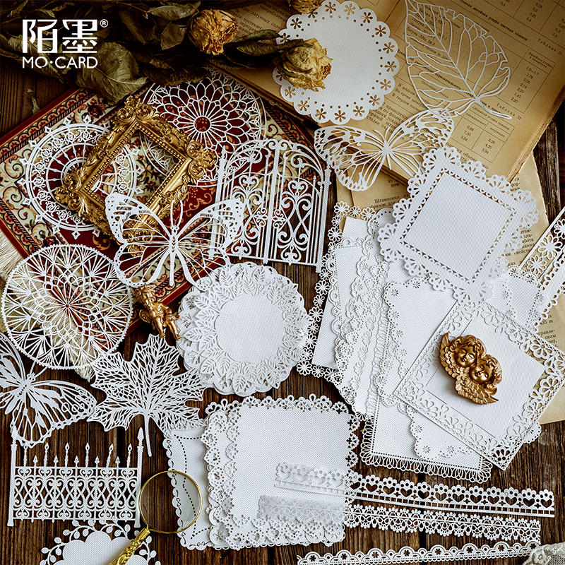 10pcs Hollow Lace Paper Alice Tea Party Bullet Journaling Accessories Lace Decoration Collage Scrapbooking DIY Material Paper