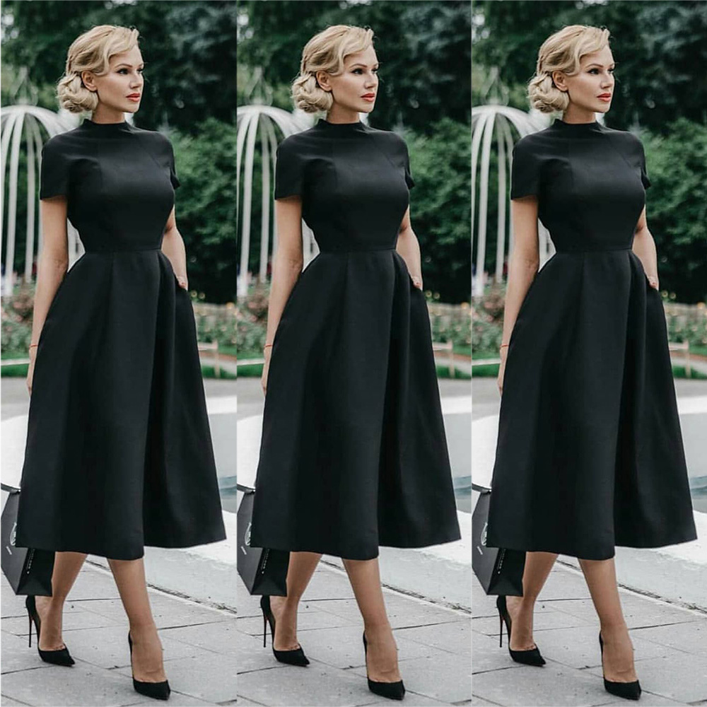 Black Dress Classic Women Dress Lady Elegant Dress Fashion Solid Color Dresses Short Sleeve Female Lady Evening Party Dress D30