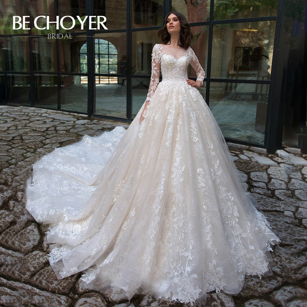 Appliques Lace Up Wedding Dress BECHOYER N210 Scoop Long Sleeve Ball Gown Court Train Princess Bride Gown Vestido De Noiva