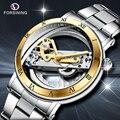 FORSINING, новые мужские автоматические механические часы, лучший бренд, роскошные часы из нержавеющей стали, скелет, прозрачные Спортивные муж...