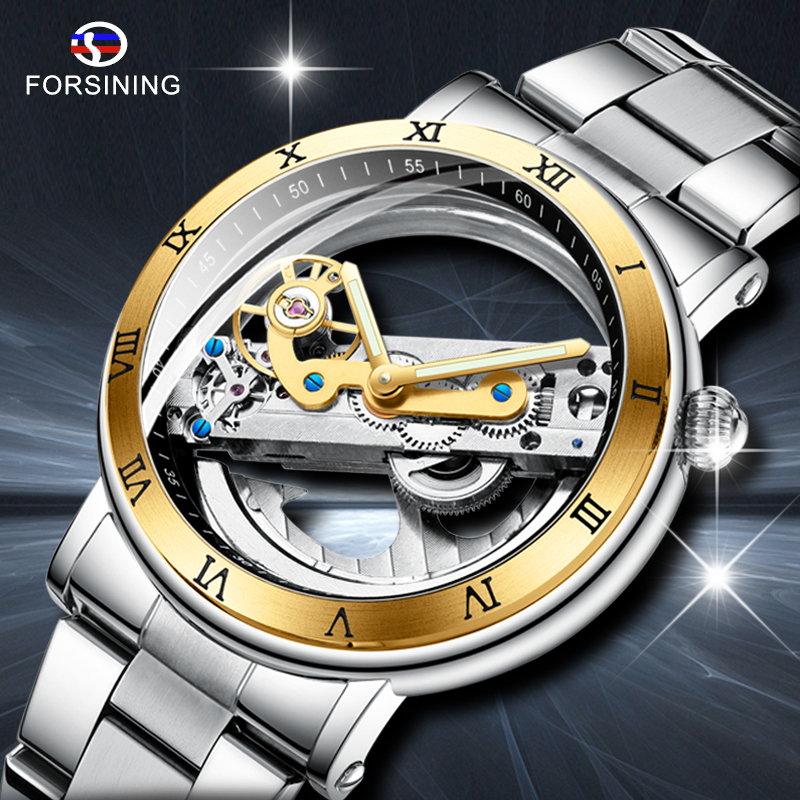 FORSINING New Men Automatic Mechanical Watches Top Brand Luxury Stainless Steel Watch Skeleton Transparent Sport male WristWatch|Mechanical Watches| |  - title=