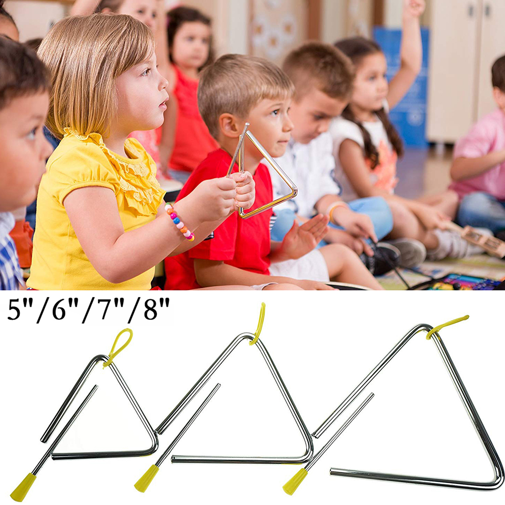 Durable Metal 5/6/7/8 Inch Triangle Musical Instrument Band Percussion Children's Toy Orff Triangle Musical Instrument