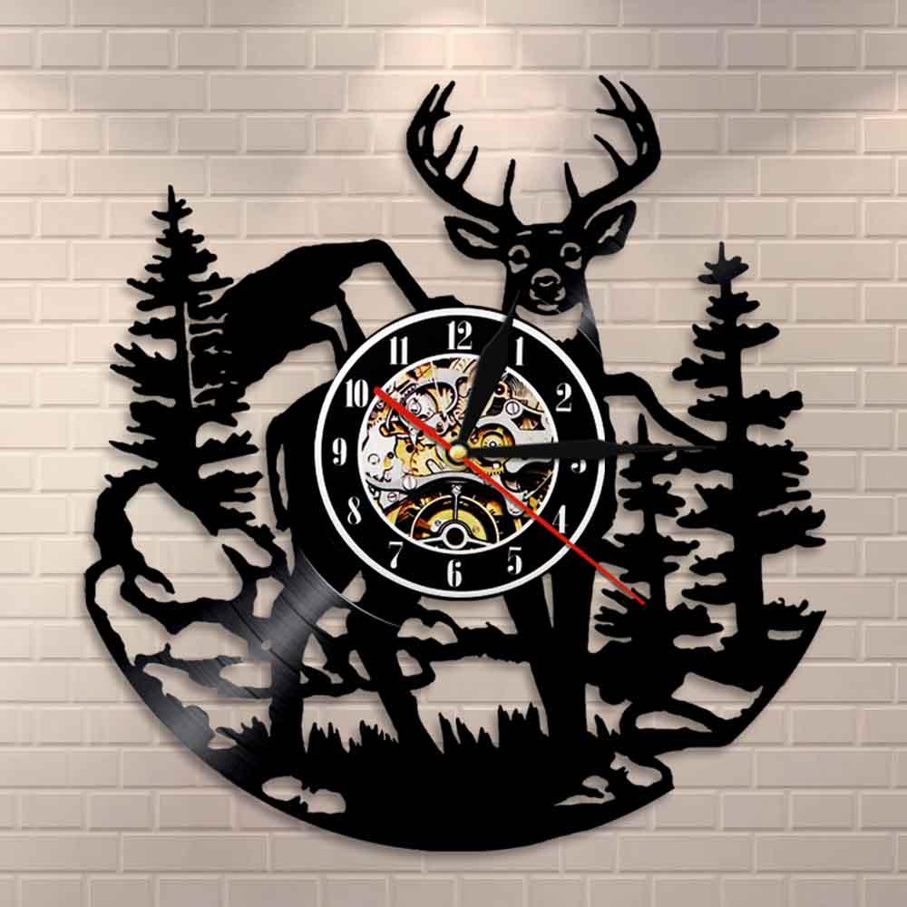 Birch Tree Forest Deer Wall Art Woodlands Buck Wall Decor Vinyl Record Clock Mancave Hunting Club Animals Vintage Wall Clock