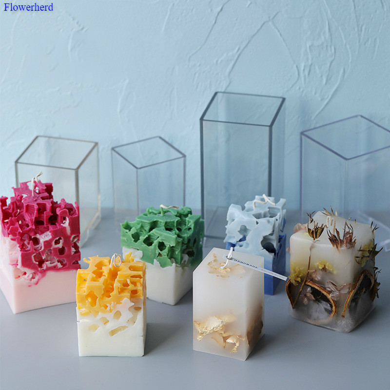 Square Candle Mould Acrylic Plastic Mould Aromatherapy Cave Craft Candle DIY Material Plastic Mould Fondant Cake Plaster Mold