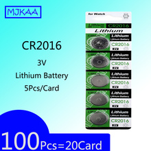 100Pcs=20Card CR2016 3V Lithium Button Battery Cell Coin Batteries LM2016 BR2016 DL2016 For Watch Electronic Toy Remote стоимость