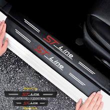 4 pçs/set Couro Protetor de Soleira Da Porta Do Carro Adesivos De Vinil Para O Ford Focus ST Stline MK2 Limiar Acessórios Decalques