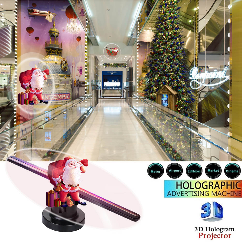 Wifi 3D Hologram Projector Fan 224 LEDs Holographic Party Decorations with 16G TF Holograms Led Funny Chritmas Advertising Light