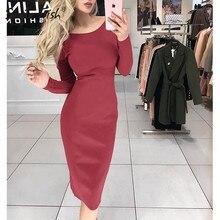 Платье-футляр в стиле ампир, весеннее женское платье, мода, длинный рукав, бодикон, одноцветное, офисное, элегантное, женское платье, вечерние, в целом размера плюс, M0577