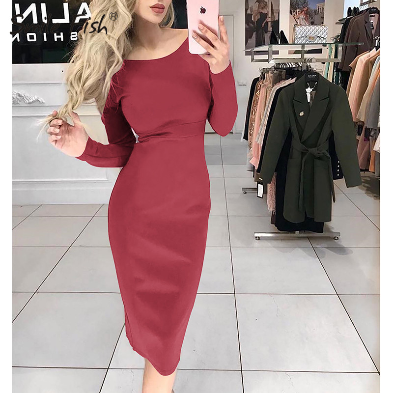 Sheath Empire Spring Women Dress 2019 Fashion Long Sleeve Bodycon Solid Office Elegant Lady Dress Party Overall Plus Size M0577