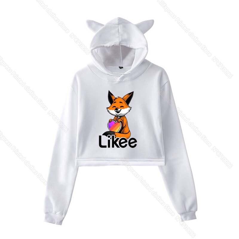 Girls Pink Cat Ear LIKEE Hoodies Cat Crop Top Likee App Hoodie Women Cartoon Unicorn Fox Sweatshirt Female Harajuku Streetwear 33