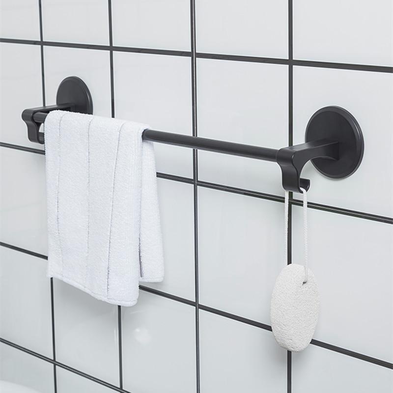 Nordic Towel Rack Wall-mounted Toilet Towel Bar Single Rod Strong Paste Hook Towel Rack Toilet Bathroom Towel Hanging 4 Color