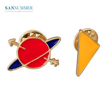 Sansummer 2019 New Hot Fashion Colored Planet Triangle Geometric Elements Pin Personality Simple Casual Brooch For Women Jewelry