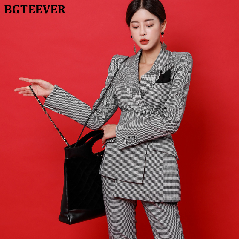 BGTEEVER Fashion Irregular Sashes Belt Women Pant Suit Plaid Slim Women Blazer Suit Set Female Workwear Trouser Suit 2019 Autumn