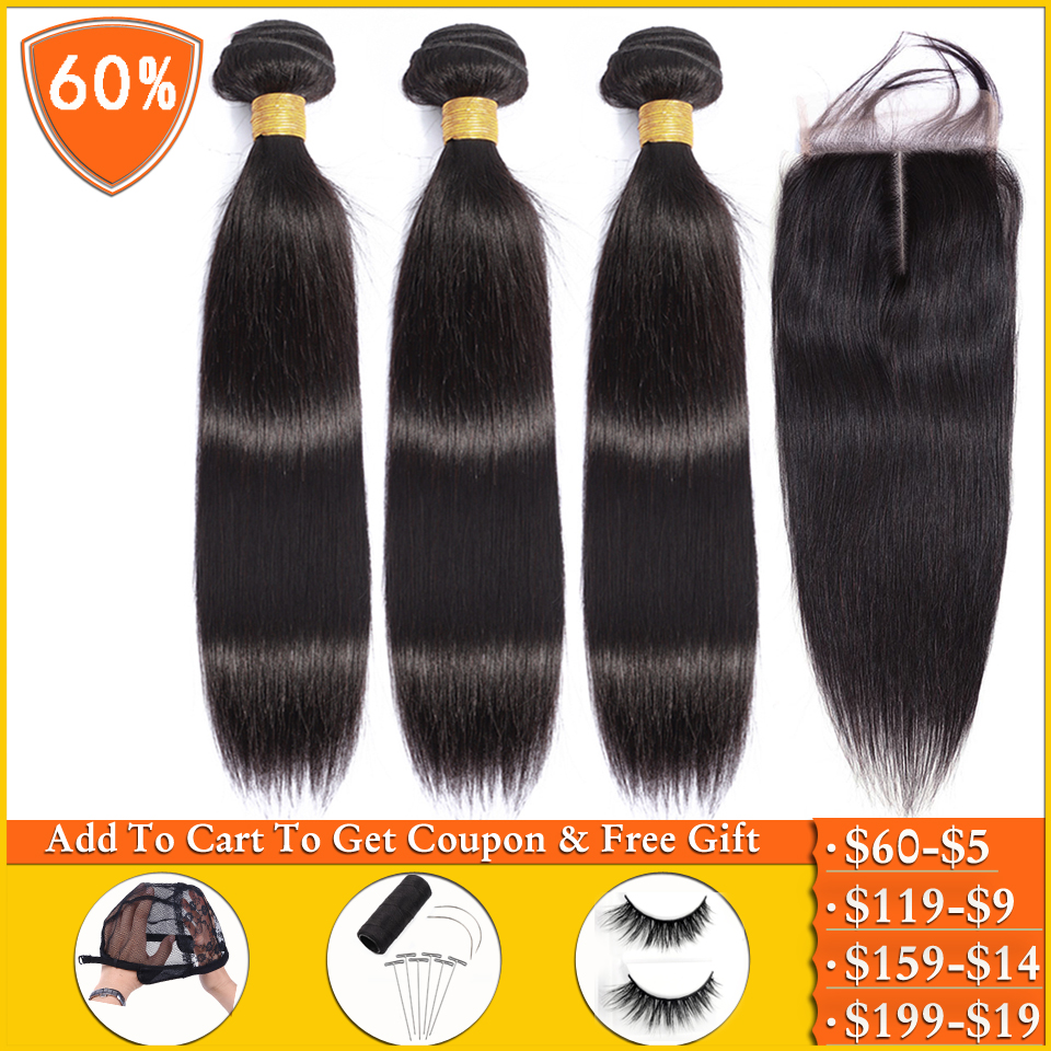 Lanqi Straight Hair Bundles With Closure Peruvian Hair Bundles With Closure 100% Human Hair Weave Bundles With Closure Non-remy