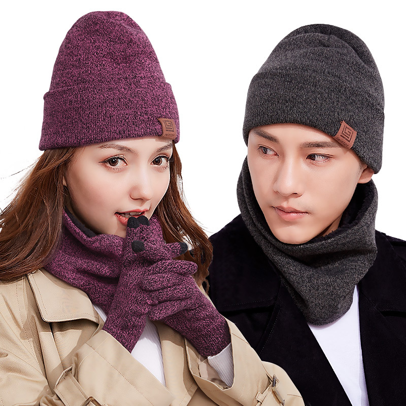 Gift Box Autumn & Winter Hat Scarf Gloves Knitted Three-piece Set-Men And Women Yarn Plus Velvet Warm