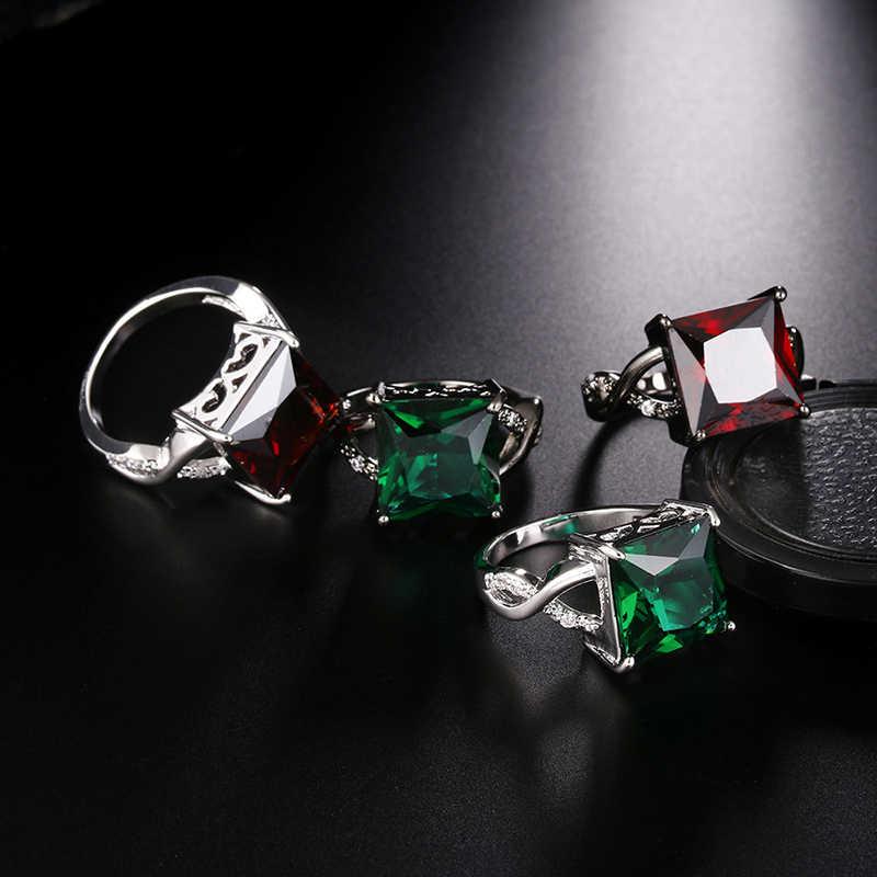 Bohemian Einfache Mode Rechteckigen frauen Ring Gold/Silber Farbe CZ Stein Punk Engagement Ring Bague Femme Anelli Donna