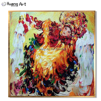 New Hand Painted Chinese Beijing Opera Oil Painting for Living Room Wall Decor Traditional Act in an Opera Painting On Canvas