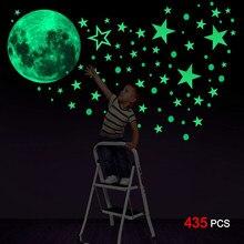 435 pièces lueur dans le noir autocollants 435 pièces lumineux lune points étoiles Mur plafond décalcomanie Mur décoration de la maison décor Stickers muraux