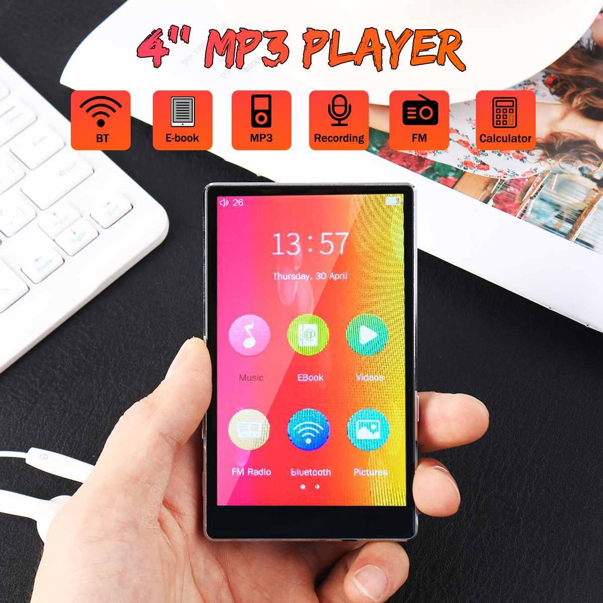 4 pouces bluetooth lecteur MP3 ecouteurs HiFi fm Radio mini USB mp3 sport MP 4 HiFi lecteurs de musique portables enregistreur d'enregistrement vocal