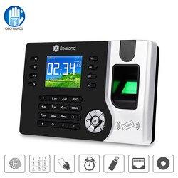 Realand Biometrische TCP/IP Fingerprint Zeit Teilnahme Maschine RFID Mitarbeiter Überprüfen-in Recorder USB für Büro Kostenloser Software DC12V