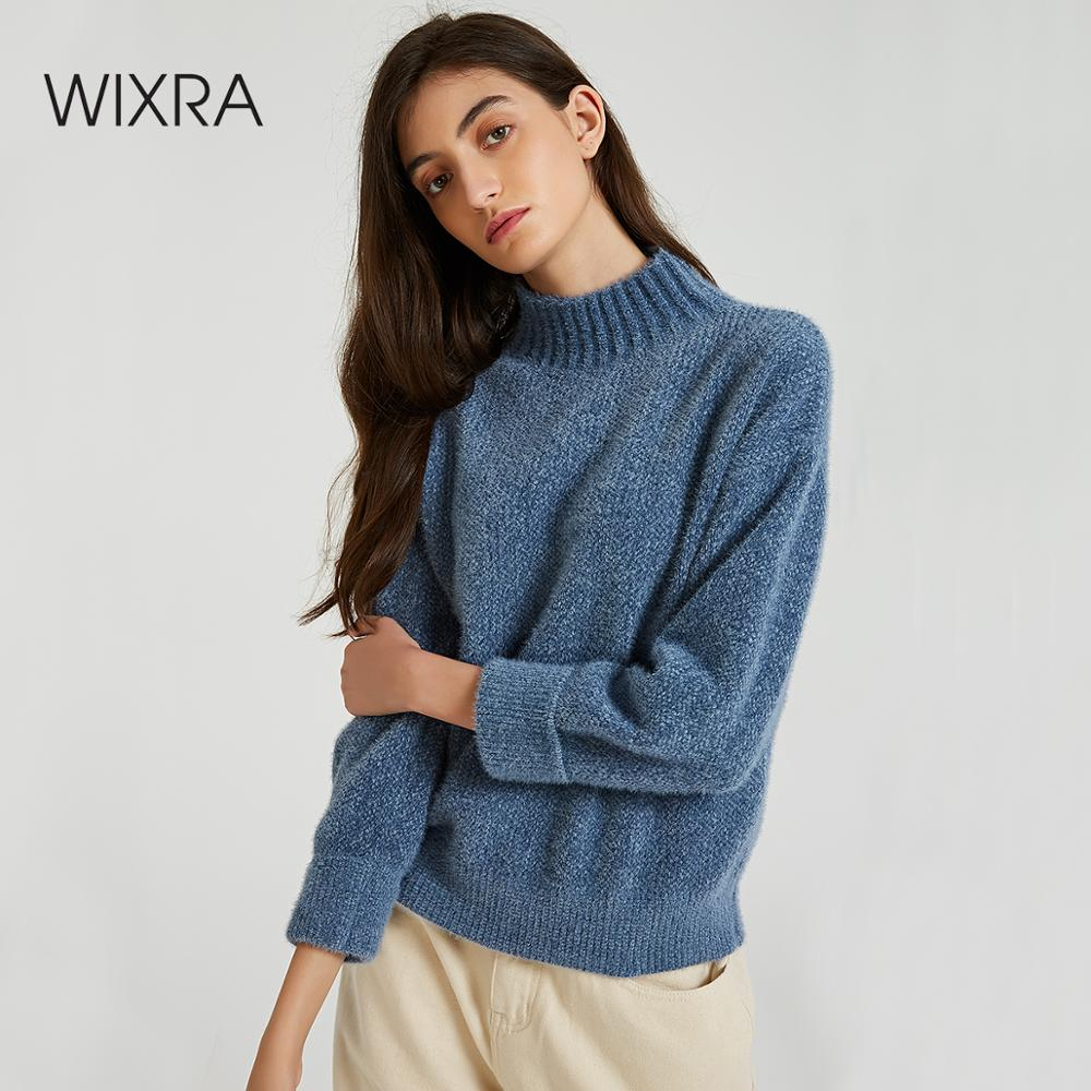 Wixra Turtleneck Sweaters 2019 Autumn Winter Casual Ladies Knitted Solid Stylish Chenille Sweater And Pullovers