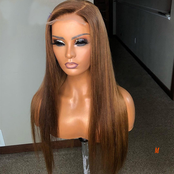 Eversilky Deep Part Transprent 13x6 Lace Front Human Hair Wigs Brazilian Remy Brown 4x4 Silk Base Full Lace wig Open U Part Wigs