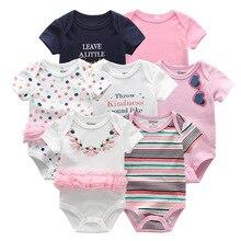 2019 Baby Romper 7 sztuk/partia bawełna Unisex dziewczynka ubrania 0 12M Newbron ubrania dla dzieci z krótkim rękawem Baby Boy ubrania Roupa de bebe