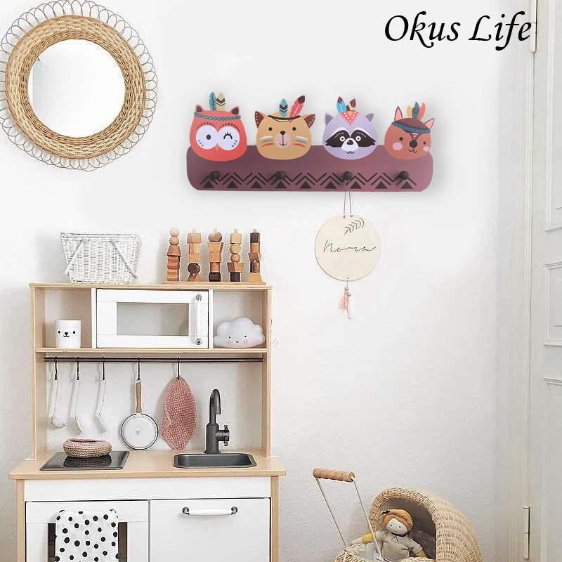 Ins Lovely Cartoon Animal Wooden Hook Clothes Handbag Hanger Coat Hook Cute Wall Hanging Children's Room Home Decor Accessories