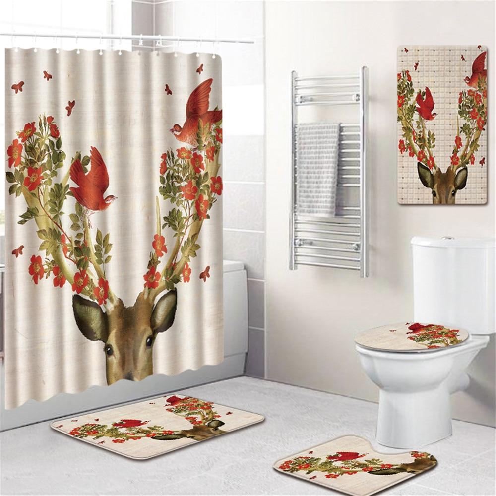US $5.5 5% OFF5 Pcs Fashion Floral Rusa Tirai Kamar Mandi Mat Toilet  Pad Set Non Slip Karpet Kamar Mandi Tahan Air Shower Tirai setShower  Tirai